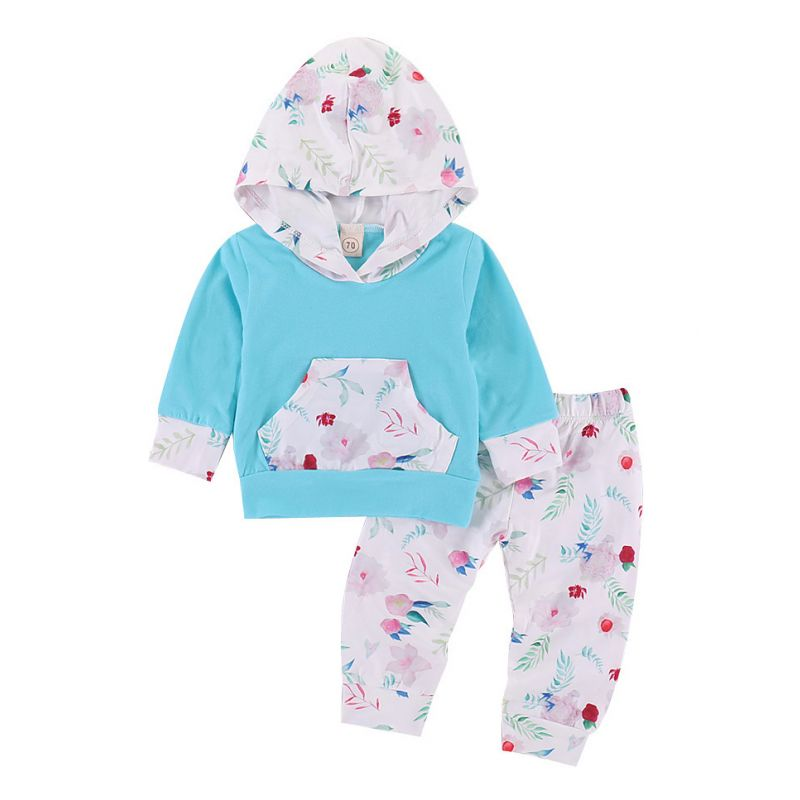 2-piece Baby Girl Spring Hoodie& Pants Clothes Outfits Set Floral Hoodie with Kangaroo Pocket+Flower Pants
