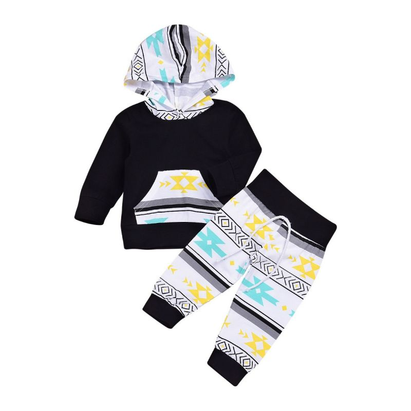 2-piece Infant Casual Clothes Outfits Set Color Blocking Hoodie Sweatshirt with Kangaroo +Pants