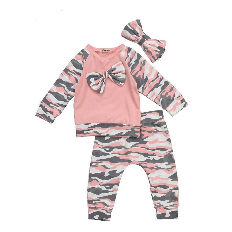 3-piece Spring Baby Girl Casual Clothing Outfit Set Camouflage Sweatshirt Pullover+Pants+Headband