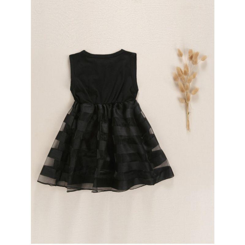 Baby Little Big Girl Sleeveless Black Mesh Patchwork Dress Kids Summer Casual Shift Dress
