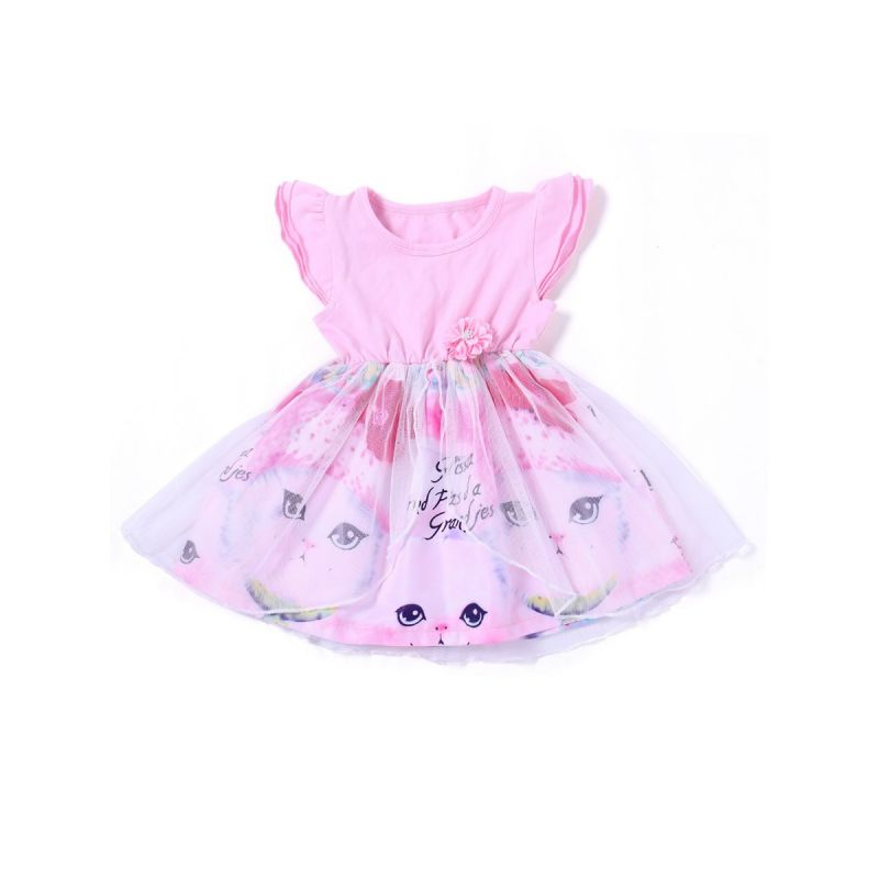 Flutter Sleeve Baby Girl Tulle Patchwork Cat Print Dress Kids Casual One-Piece Dress