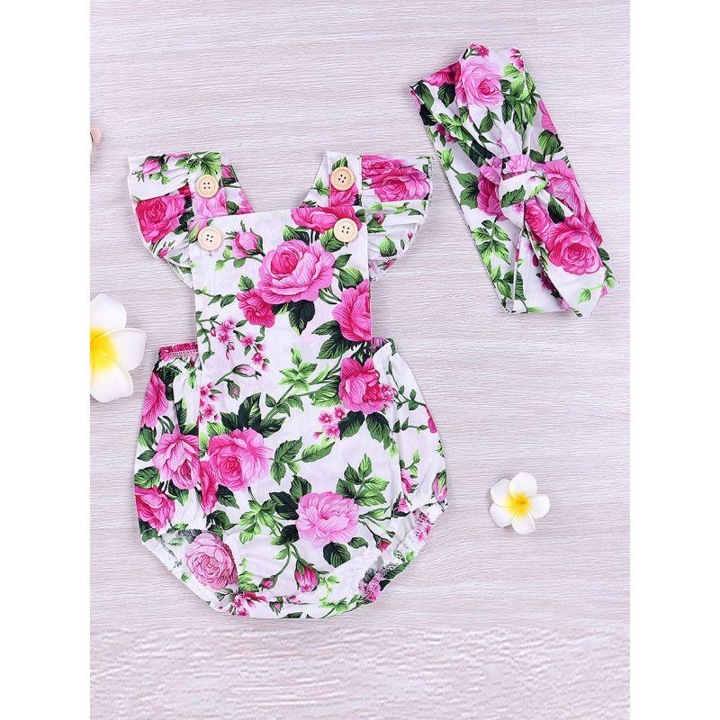 Flutter Sleeve Floral Backless Baby Girl Onesie Bodysuit with Flower Headband