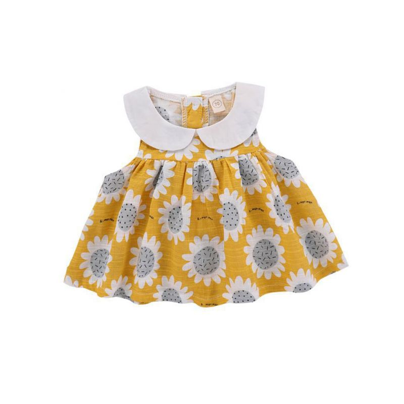 Peter Pan Collar Sunflower Sleeveless Shift Dress Baby Girl Summer Casual Dress