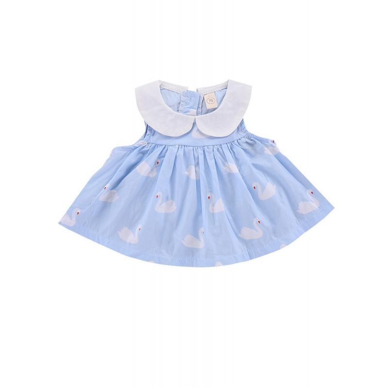Doll Collar Goose Print Sleeveless Infant Shift Dress