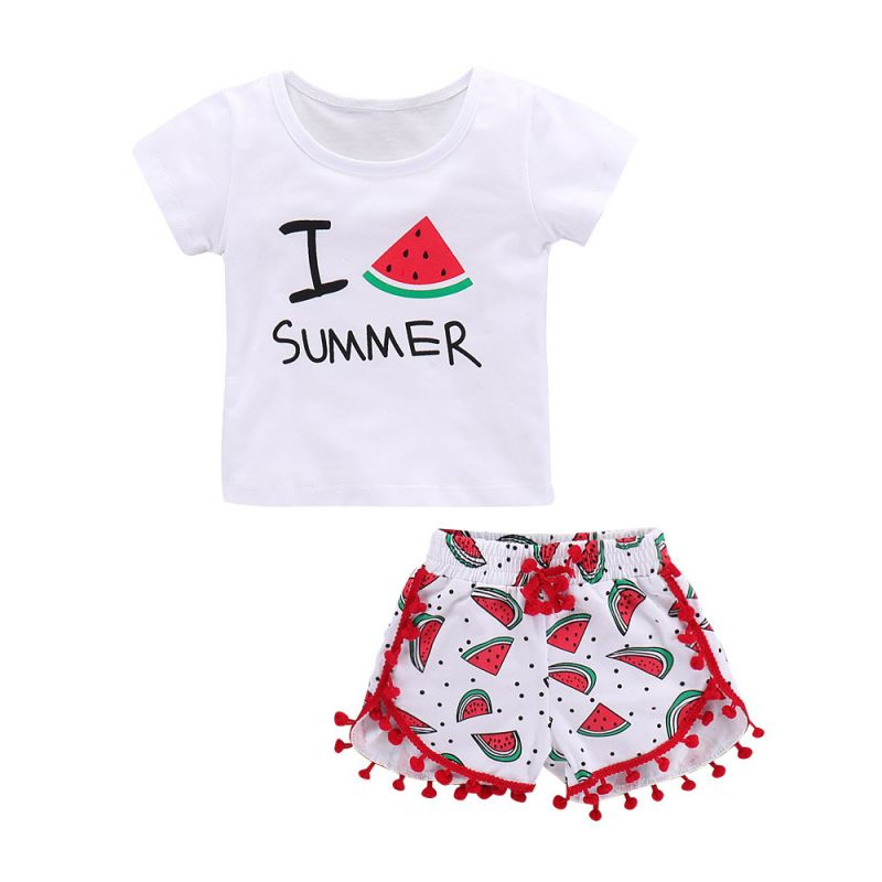 2-piece Baby Girl Summer Clothes Outfits Set T-shirt+Red Pom Pom-Hem-Trimmed Watermelon Shorts