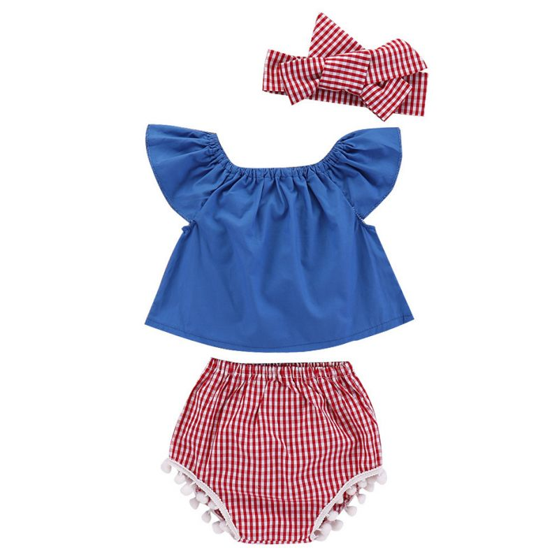 3-piece Infant Girl Summer Clothing Outfits Set Flutter Sleeve Blue Top Shirt+Checked Shorts+Plaid Bow Headband