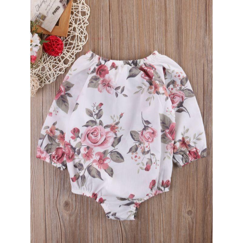 Baby Girl Rose Romper Bodysuit for Spring Summer