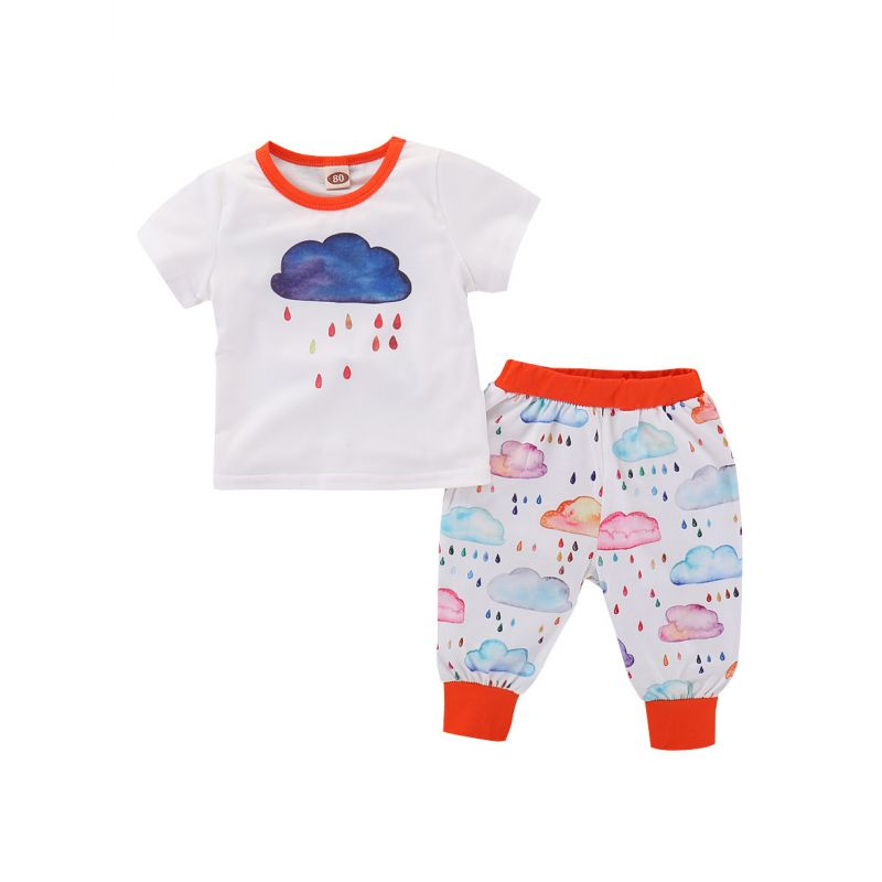 2-piece Baby Boys Girls Summer Clothes Outfits Set Cloud Rain Print Short Sleeve T-shirt+Pants