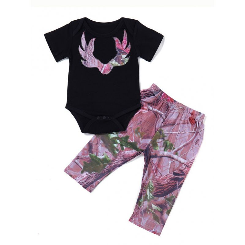2-piece Baby Summer Apparel Outfits Set Deer Head Style Romper+Printed Pants