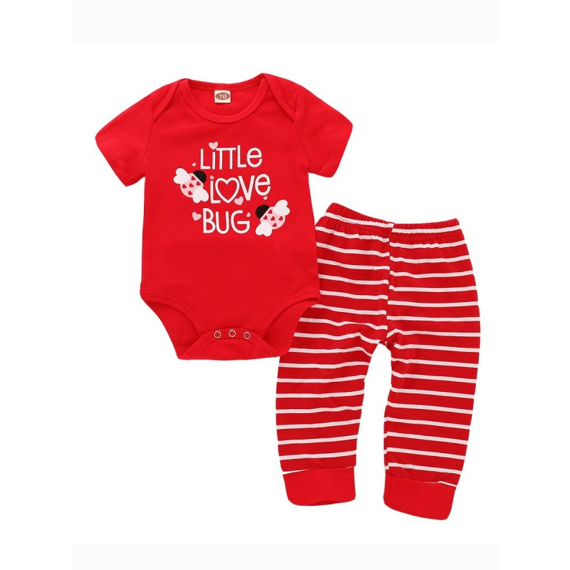 Baby Summer Bodysuit & Pants Outfits Set LITTLE LOVE BUG Red Bodysuit+Red & White Stripe Pants