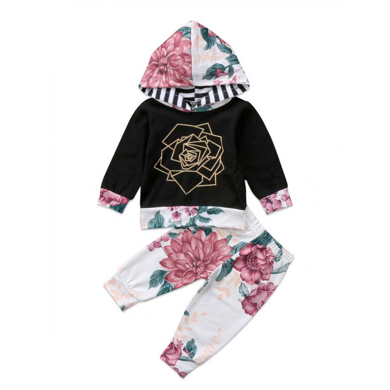 2-Piece Infant Girl Casual Outfits Set Gold Rose Hoodie+Flower Pants