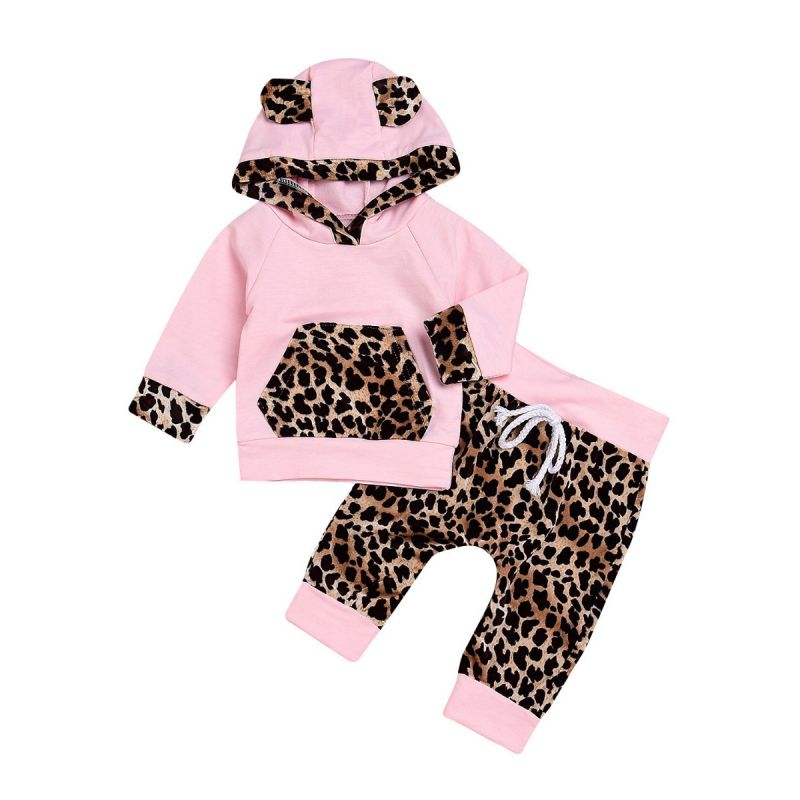 2-piece Baby Girl Casual Clothes Outfits Set Animal Ear Color-blocking Hoodie with Kangaroo Pocket+Leopard Print Pants