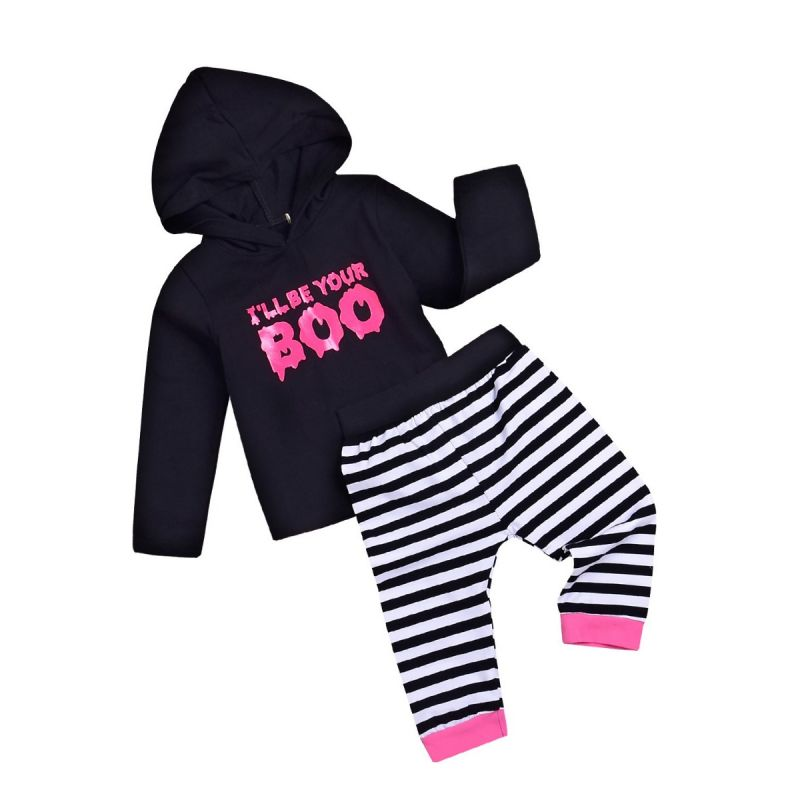 2-piece Infant Boys Girls Casual Clothes Outfits Set I'LL BE YOUR BOO Black Hoodie Sweatshirt+Black & White Striped Pants
