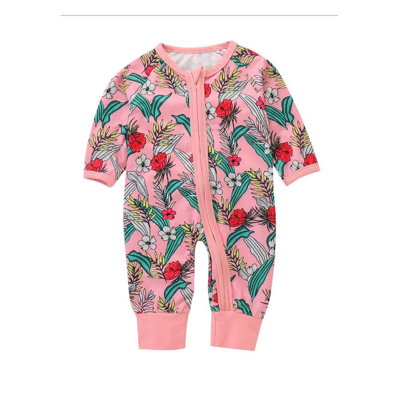 Floral Newborn Baby Girl Jumpsuit Zip Overalls for Spring Autumn