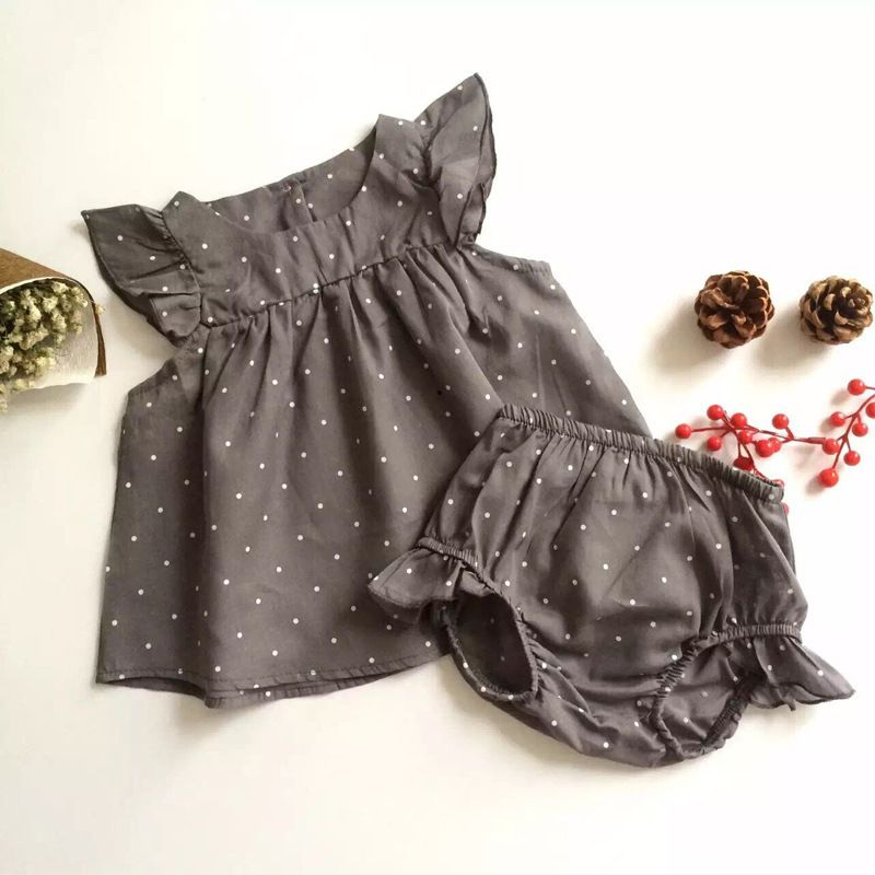 2-piece Baby Girl Polka Dots Flutter Sleeve Dress+Shorts Summer Outfits Set