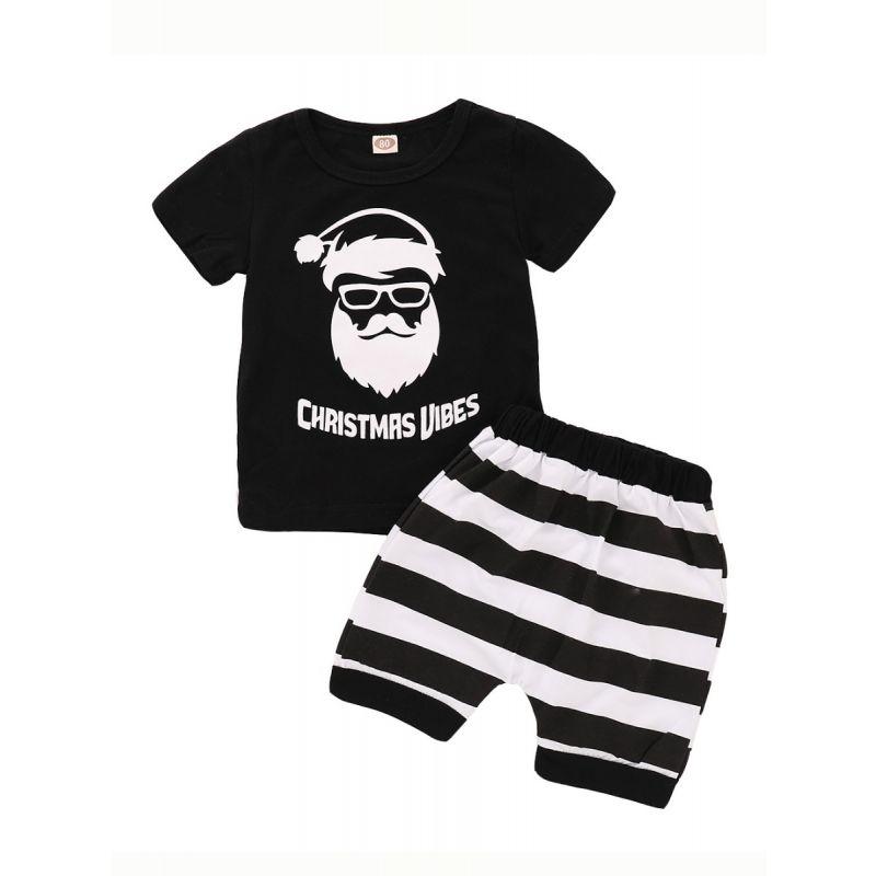 2-piece Baby Christmas Clothes Outfit Set CHRISTMAS VIBES Santa t-shirt +Black & White Short Pants