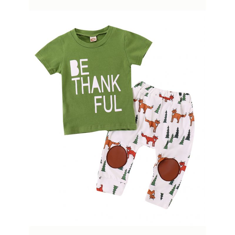 2-Piece Baby Summer Casual Outfits Set BE THANKFUL T-shirt +Fox Pants