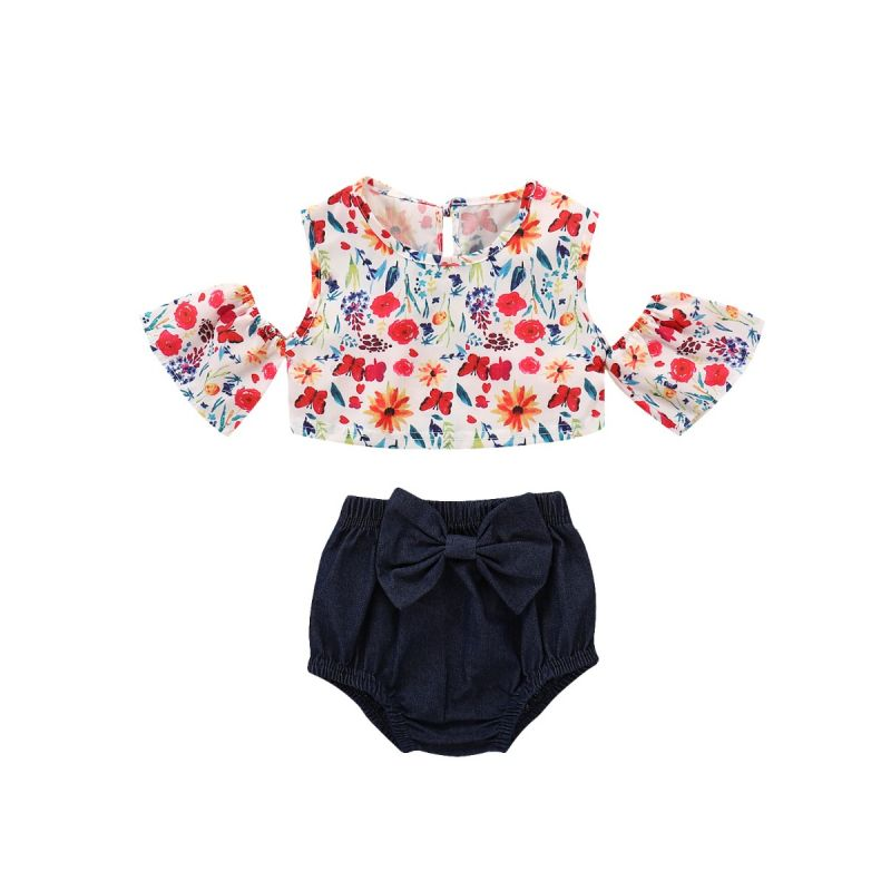 2-piece Baby Girl Summer Clothes Outfits Set Floral Off-shoulder Top+Bowknot Shorts
