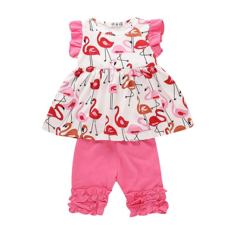 2-piece Baby Little Girl Summer Clothes Outfits Set Flutter Flamingo Blouse Top+Ruffled-Hem Leggings