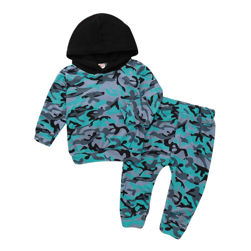 2-piece Baby Little Kids Casual Clothes Outfits Set Hoodie Sweatshirt+Camouflage Pants