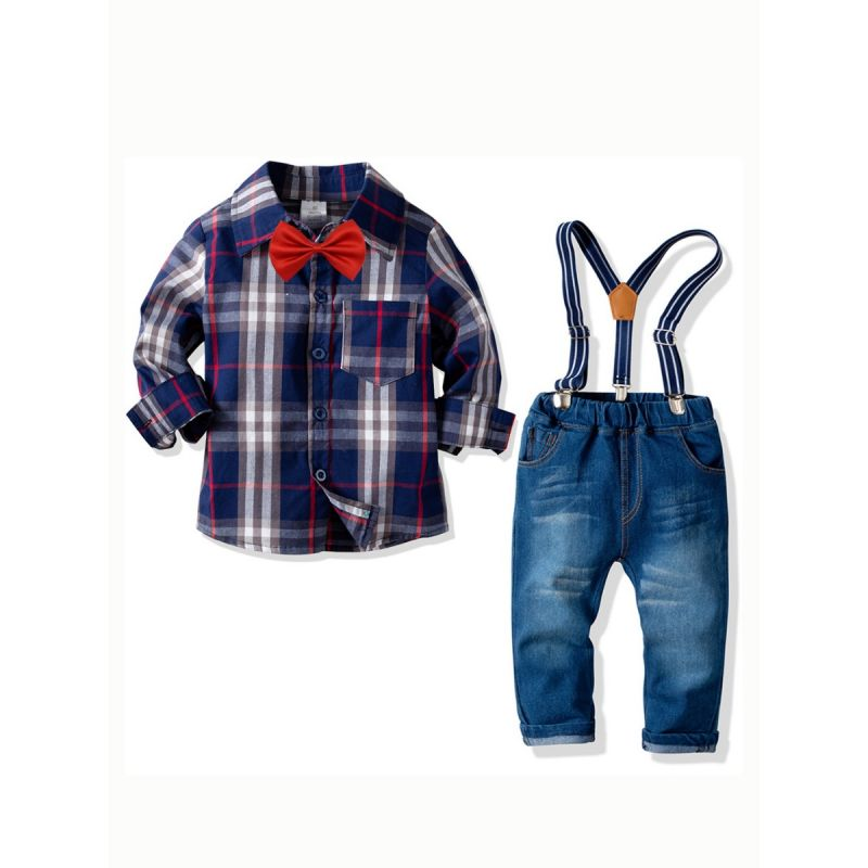 4-piece British Style Toddler Big Boys Kids Clothes Outfits Set Gingham Long Sleeve Shirt Top+Bowtie+Adjustable Shoulder Straps Casual Denim Bib Overalls Jeans