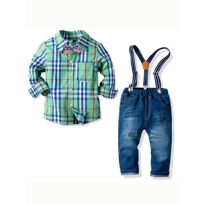 4-piece Gentleman Style Little Big Boys Casual Clothes Outfits Set Plaid Long Sleeve Shirt Top+ Bowtie+Adjustable Denim Bib Overalls Jeans