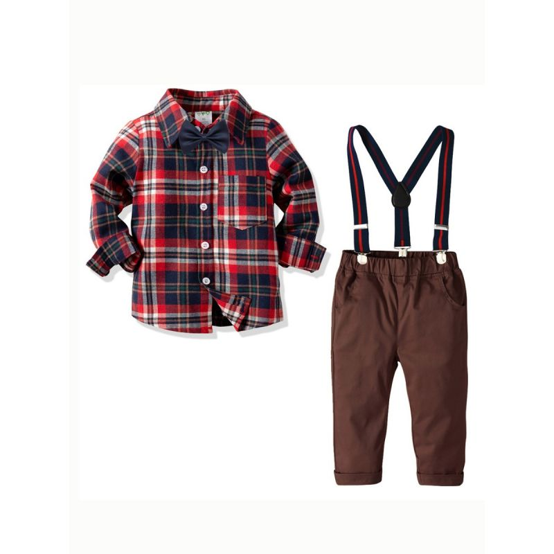 4-piece Toddler Big Boys Spring Clothes Outfit Set Checked Shirt with Bowtie+Adjustable Shoulder Straps Elastic Waist Casual Pants