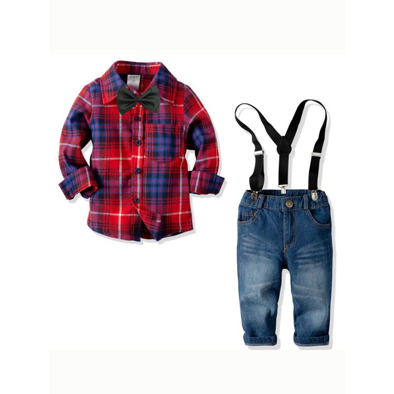4-piece British Style Toddler Big Kids Spring Clothes Outfits Set Plaid Shirt with Bowtie+Adjustable Denim Bib Overalls Jeans