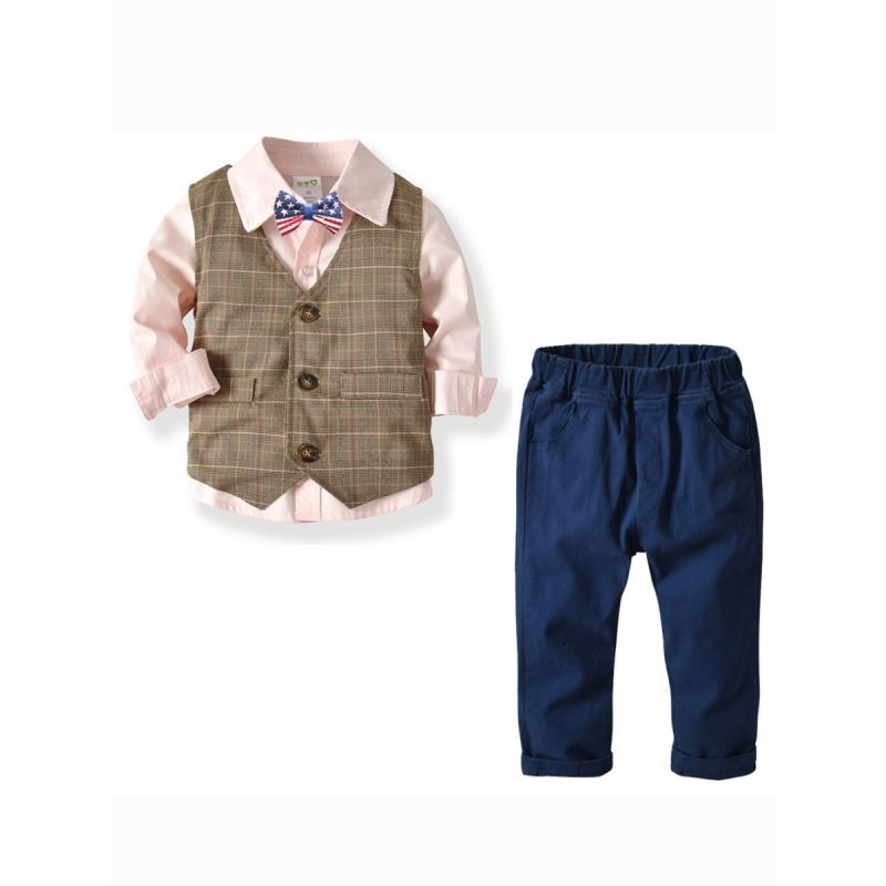 4-piece British Style Baby Big Boys Birthday Party Clothes Outfits Set Shirt with Bowtie +Checked Waistcoat+Casual Pants