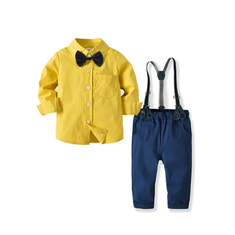 4-Piece Toddler Big Boys Birthday Party Clothes Outfits Set Yellow Shirt with Bowtie+Adjustable Shoulder Straps Elastic Waist Casual Pants