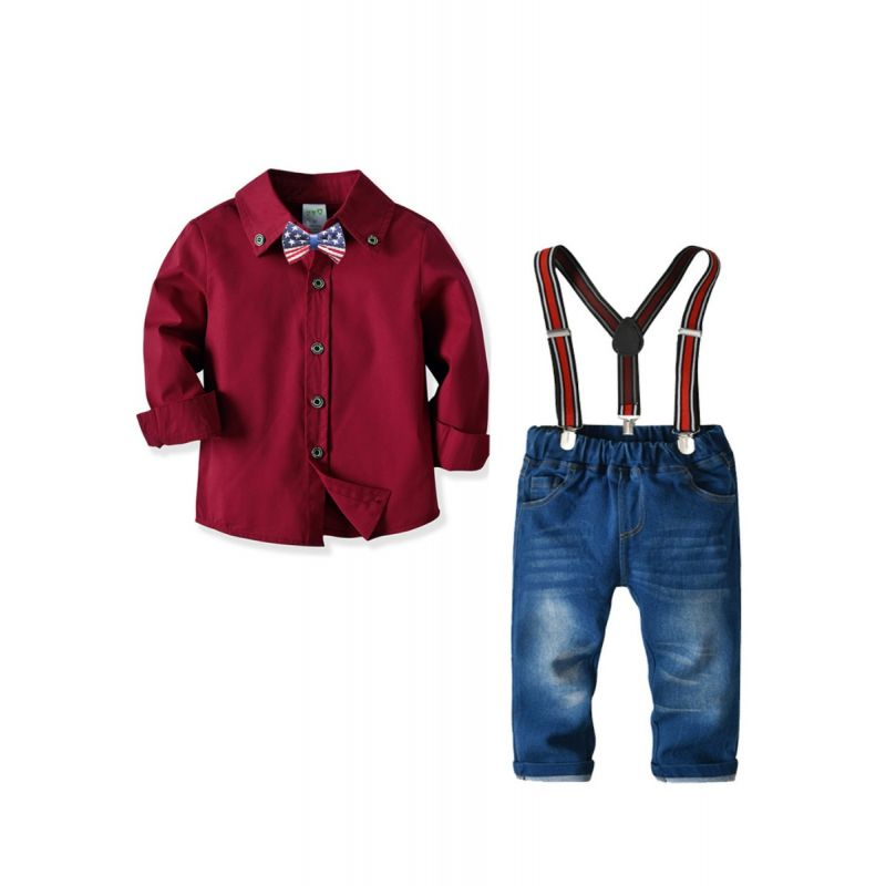 4-Piece Little Big Boy Kids British Style Gentleman Clothes Outfits Set Red Shirt Long Sleeve+Bow Tie+Adjustable Shoulder Straps Elastic Waist Jeans