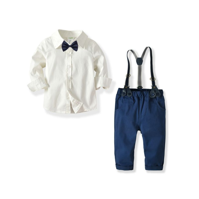 4-Piece Baby Little Boys British Style Gentleman Party Clothing Outfits Set White Long Sleeve Shirt+Bowtie+Adjustable Shoulder Straps Elastic Waist Casual Pants