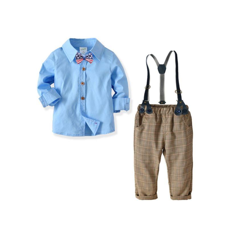 4-Piece Infant Little Boys British Style Gentleman Wedding Party Clothes Outfits Set Blue Long Sleeve Shirt+Bowtie+Adjustable Shoulder Straps Elastic Waist Checked Pants