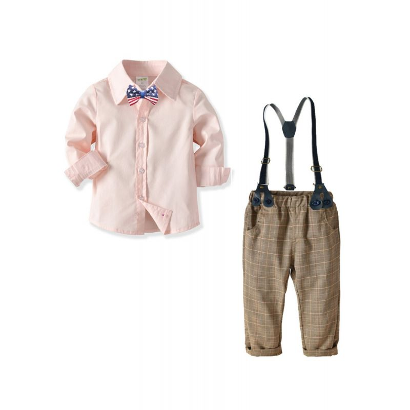 4-Piece Baby Little Boys Bristish Style Gentleman Birthday Party Clothes Outfits Set Pink Long Sleeve Shirt+Bowtie+Adjustable Shoulder Straps Elastic Waist Checked Trousers