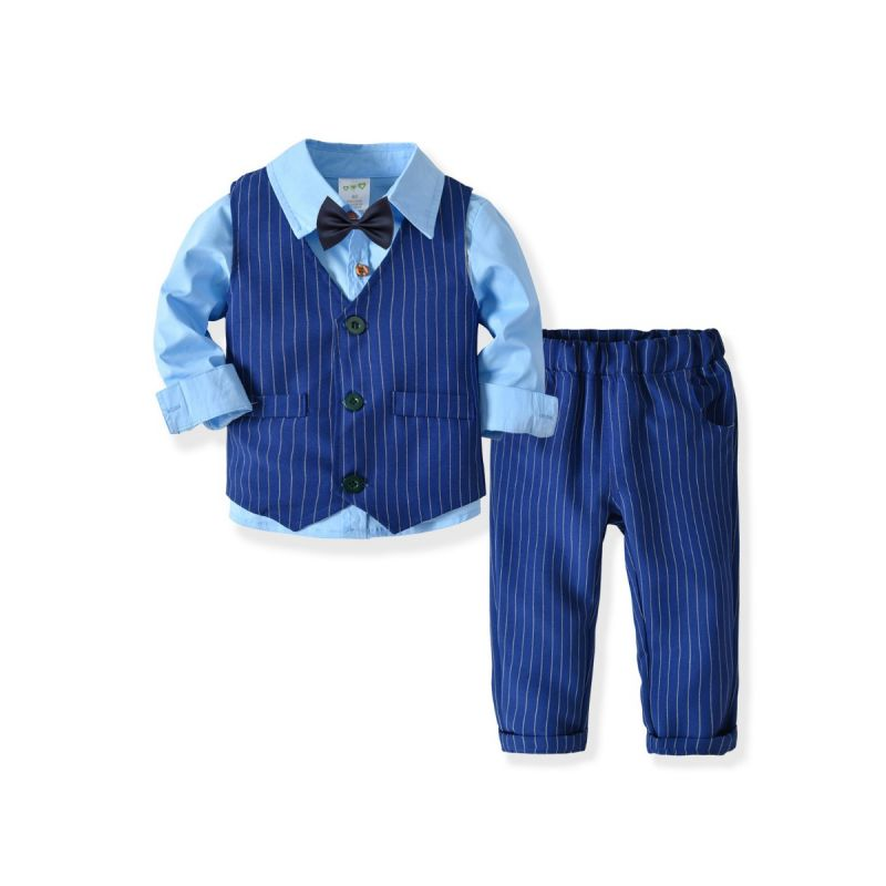 4-Piece British Style Baby Little Kids  Gentleman Boys Wedding Suits Solid Color Long Sleeve Shirt+Bowtie+Striped Waistcoat+Striped Blue Pants