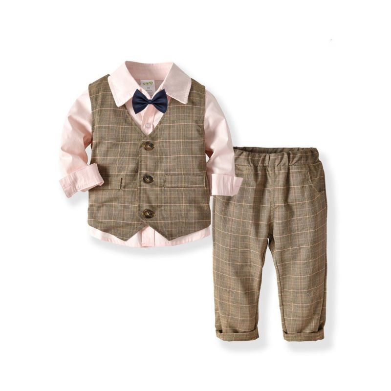 4-Piece Classic British Style Boys Suits Solid Color Long Sleeve Shirt+Bowtie+Plaid Waistcoat+Checked Suit Pants