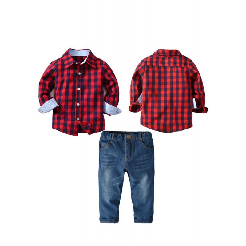 2-piece Little Schoolkids Casual Clothes Outfits Set Gingham Long Sleeve Shirt+Jeans