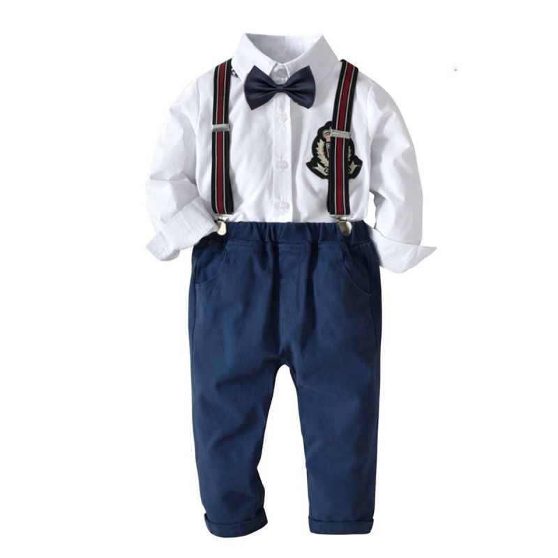 4-Piece British Style Baby Schoolboys Clothes Outfits Set Applique Solid Color Long Sleeve Shirt +Bowtie+Casual Bib Overalls