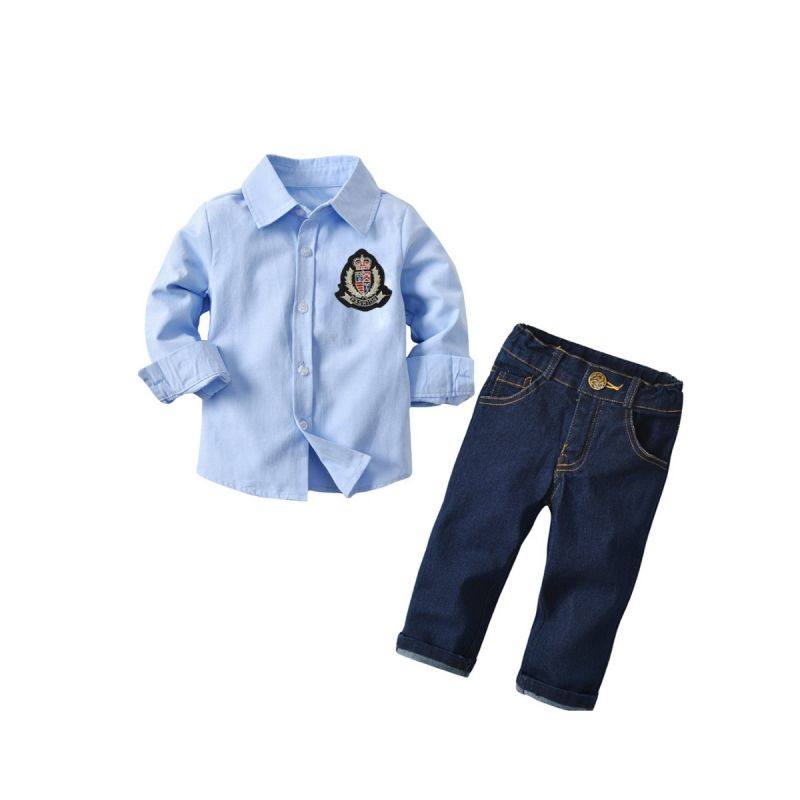 2-piece Baby Little Boys Shirt & Jeans Outfits Set Applique Blue Shirt+Denim Pants