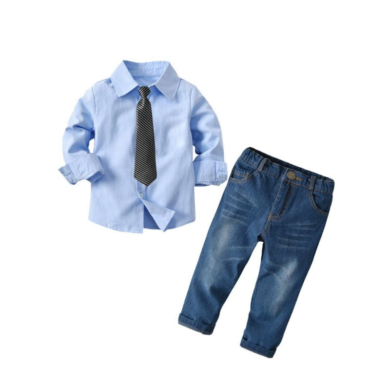3-piece Spring Autumn Toddler School Boys Casual Clothes Outfits Set Blue Shirt+Striped Tie+Jeans