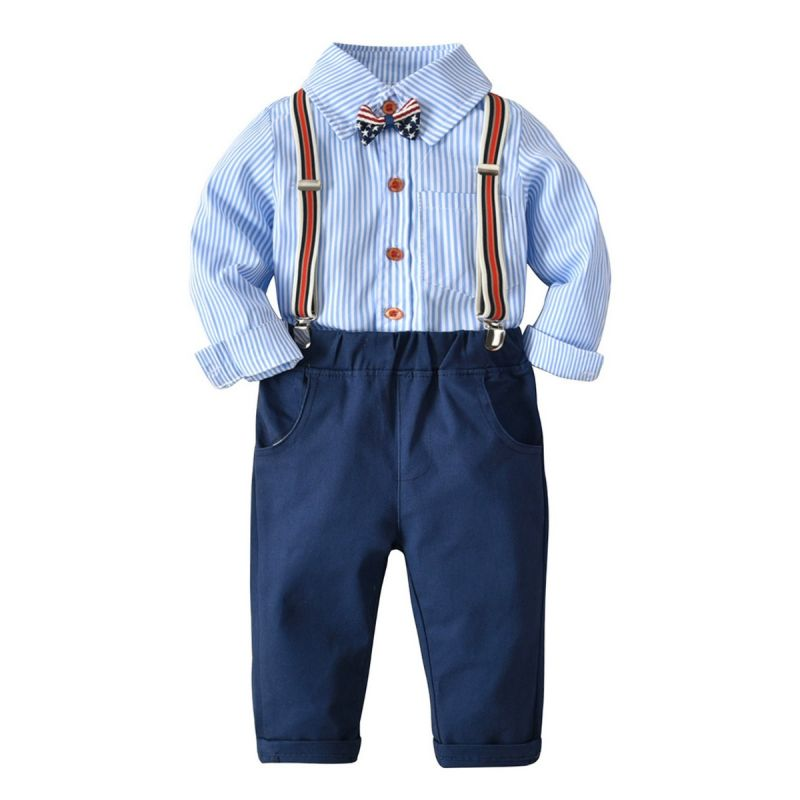 4-piece British Style Baby Little Boys Clothes Outfits Set Striped Shirt Long Sleeve with Bow Tie +Adjustable Shoulder Straps Elastic Waist Casual Pants