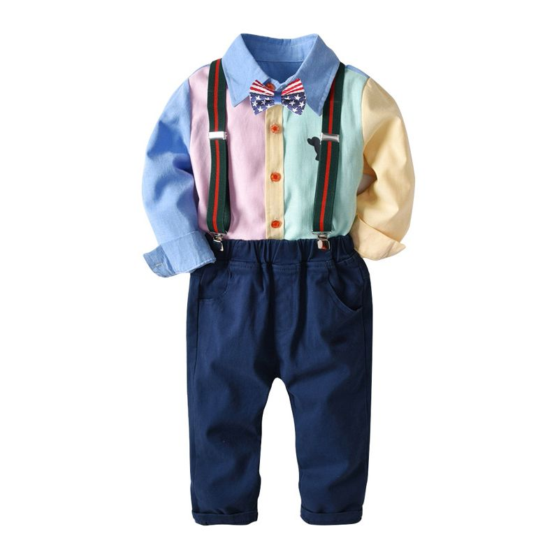 4-Piece Fashion Baby Big Boys Casual Clothes Outfits Set Color-blocking Shirt with Bow Tie +Adjustable Shoulder Straps Elastic Waist Casual Trousers