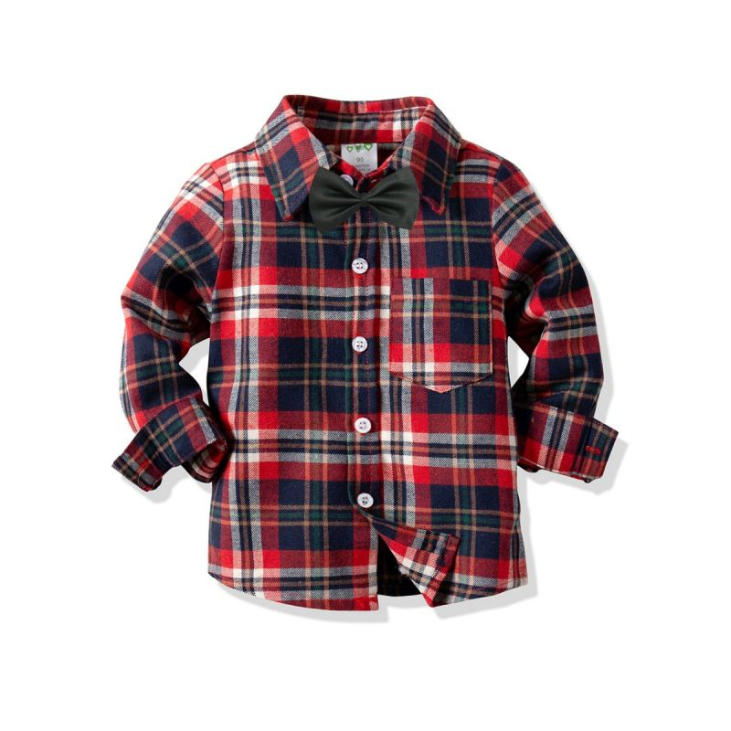 Classic Toddler Big Boys Gingham Shirt with Bow Tie Long Sleeve for Spring Autumn