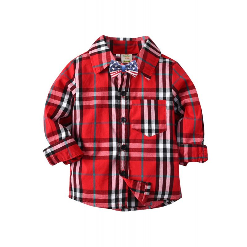 Fashion Gentleman Style Little School kids Plaid Shirt with Bowtie Long Sleeve for Spring