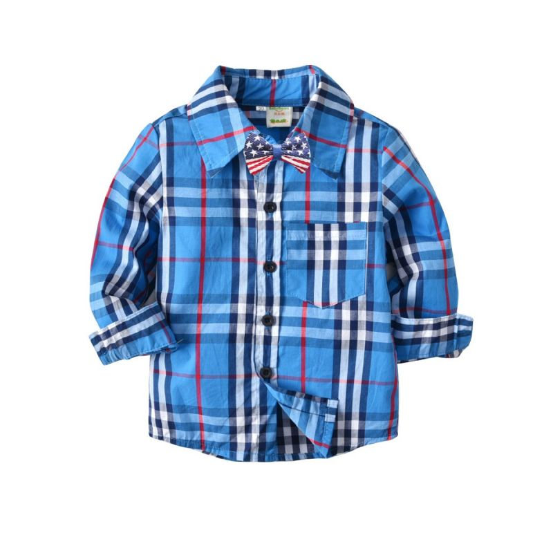 Toddler School Kids Cotton Gingham Shirt with Bow Tie Boys Casual Shirt for Spring
