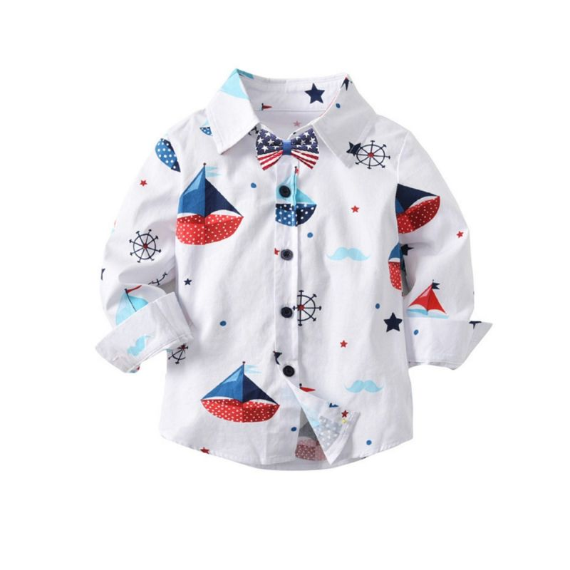 Sailboat Casual Cotton Shirt with Bowtie for Baby Little Boys