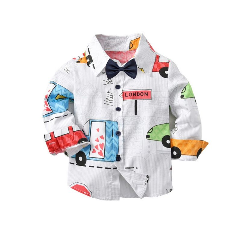 Cartoon Car Cotton Shirt with Bowtie Baby Big Boys Casual Shirt for Spring Autumn