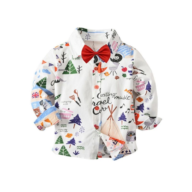 Baby Big Kids Cartoon Print Cotton Shirt with Bow Tie for Spring Autumn