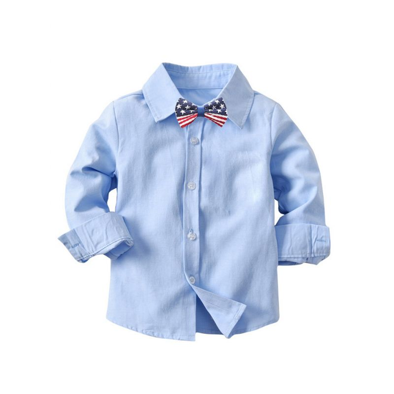 Baby Little Boy Cotton Blue Casual Shirt with Bow Tie