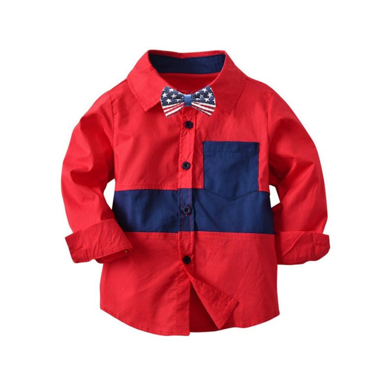 Toddler School Kids Cotton Color Blocking Casual Shirt with Bow Tie